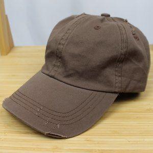 Brown Distressed dad hat